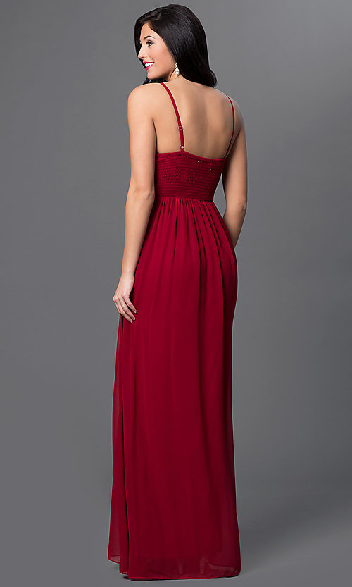 Image of long spaghetti-strap empire-waist glitter-accent sweetheart dress Style: LP-23316 Back Image