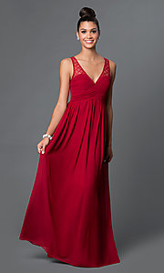Image of long v-neck open-back chiffon prom dress Style: LP-23262 Front Image