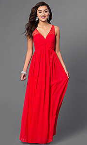Image of long v-neck open-back chiffon prom dress Style: LP-23262 Detail Image 1