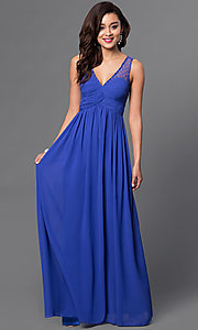 Image of long v-neck open-back chiffon prom dress Style: LP-23262 Detail Image 2