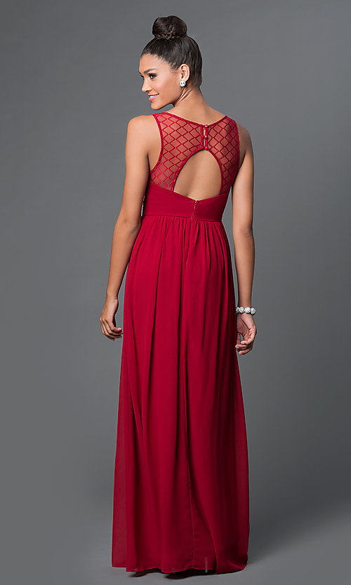 Image of long v-neck open-back chiffon prom dress Style: LP-23262 Back Image