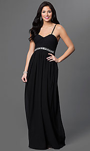 Image of long spaghetti strap embellished empire waist sweetheart dress  Style: LP-23239 Detail Image 1