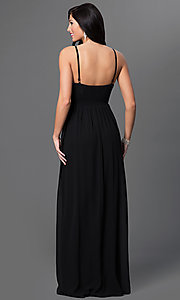 Image of long spaghetti strap embellished empire waist sweetheart dress  Style: LP-23239 Back Image