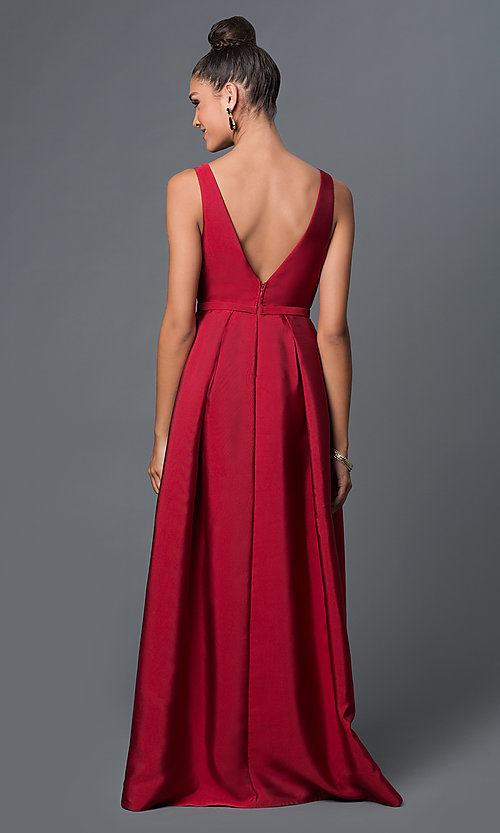Image of long open v-back satin prom dress Style: LP-23305 Back Image