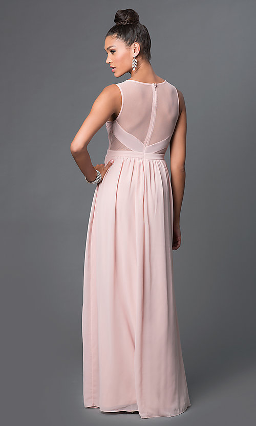 Image of sheer side-cutout illusion-back formal dress.  Style: LP-21228 Back Image