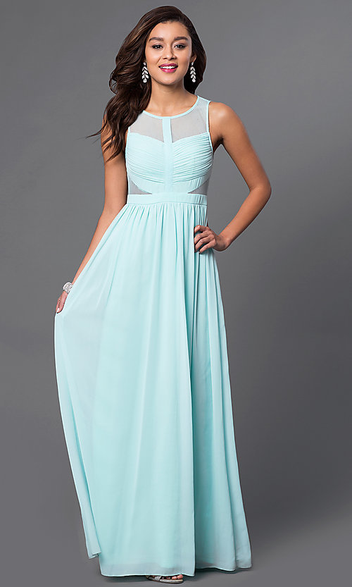 Image of sheer side-cutout illusion-back formal dress.  Style: LP-21228 Front Image