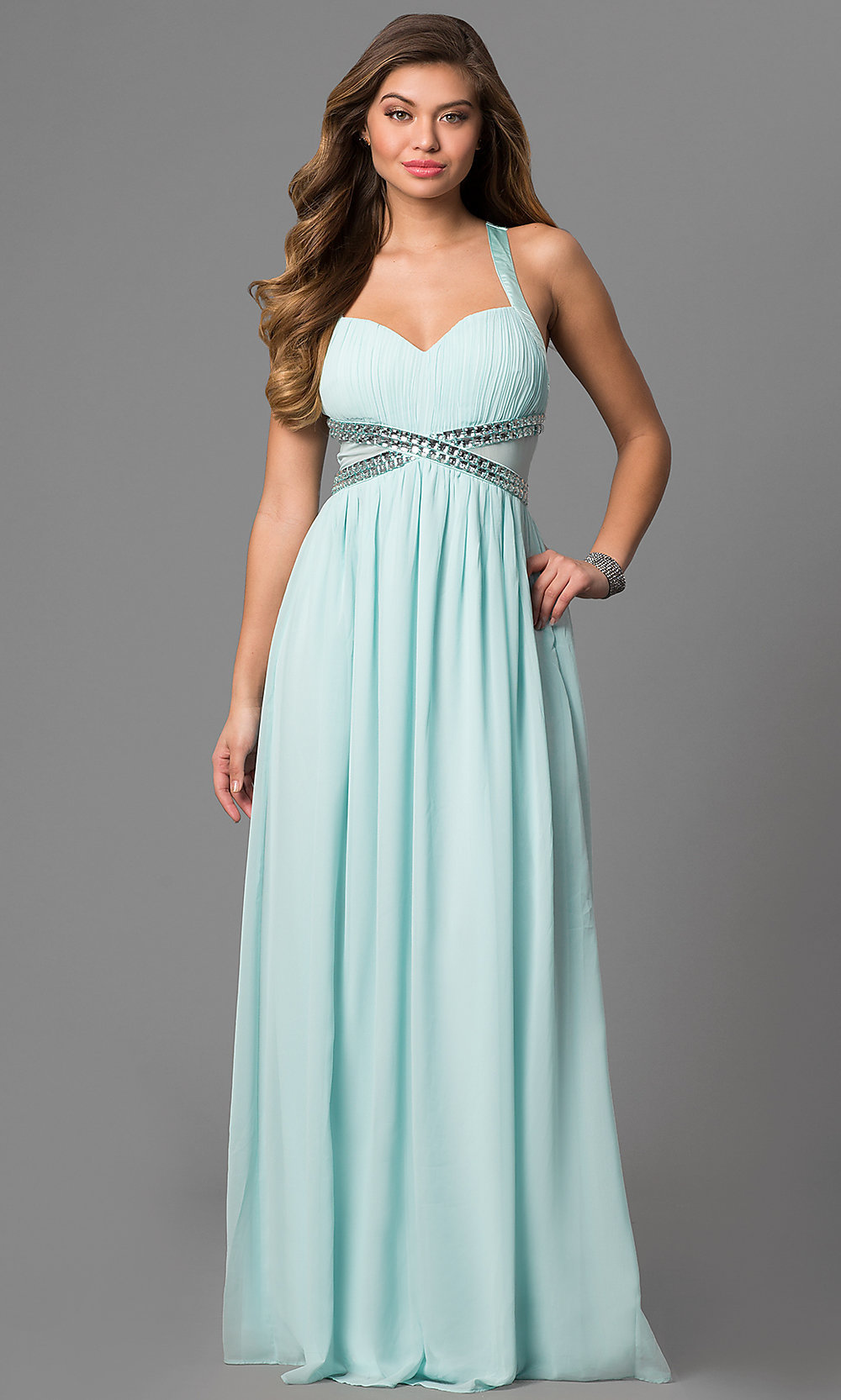 Empire-Waist Long V-Neck Cheap Prom Dress - PromGirl