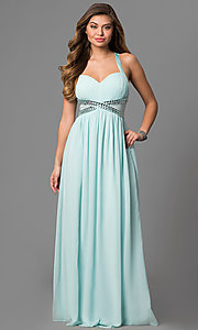 Image of long empire-waist prom dress with adjustable straps. Style: LP-22378 Detail Image 2