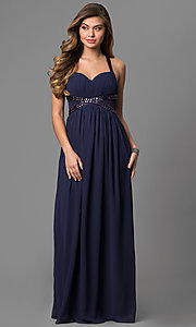 Image of long empire-waist prom dress with adjustable straps. Style: LP-22378 Front Image