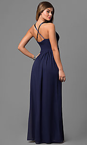 Image of long empire-waist prom dress with adjustable straps. Style: LP-22378 Back Image