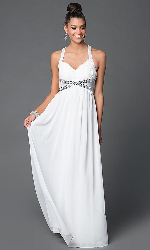 Image of long empire-waist prom dress with adjustable straps. Style: LP-22378 Detail Image 3