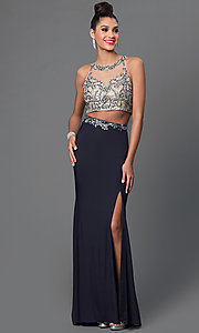 Two Piece Bead Embellished Top Floor Length Dress