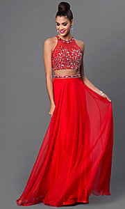 Two-Piece Jewel-Embellished Long Sleeveless Dress