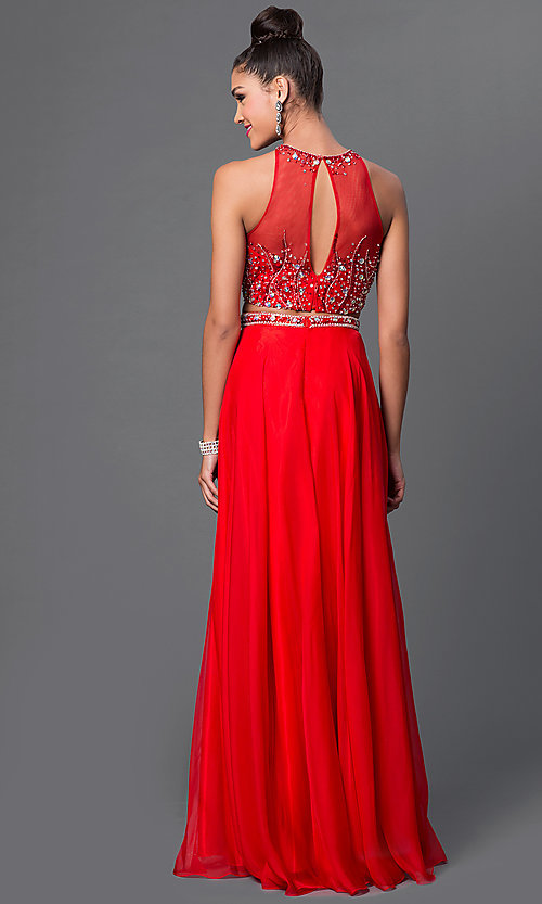 Image of two-piece jewel-embellished long sleeveless dress Style: JT-601 Back Image
