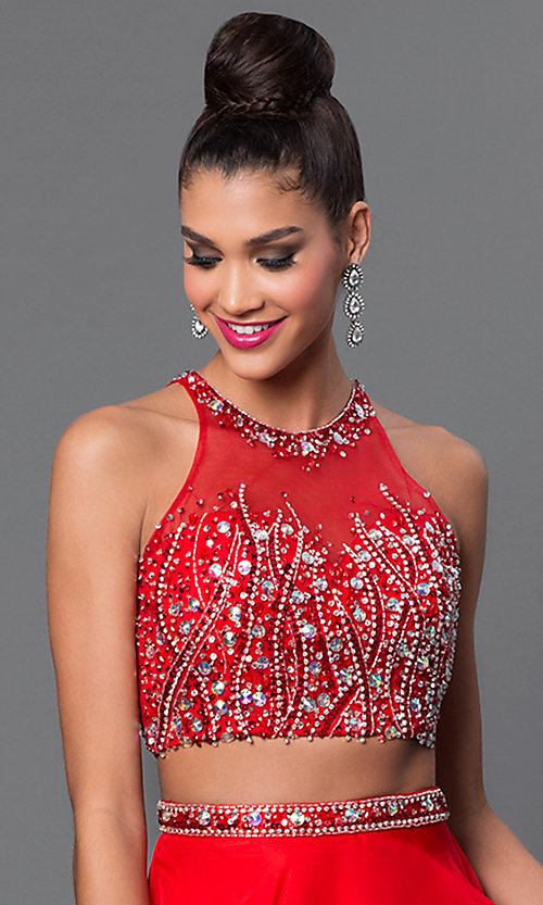 Image of two-piece jewel-embellished long sleeveless dress Style: JT-601 Detail Image 1
