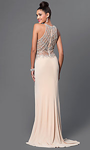 Image of sleeveless jeweled-bodice long prom dress with slit. Style: JT-605 Back Image