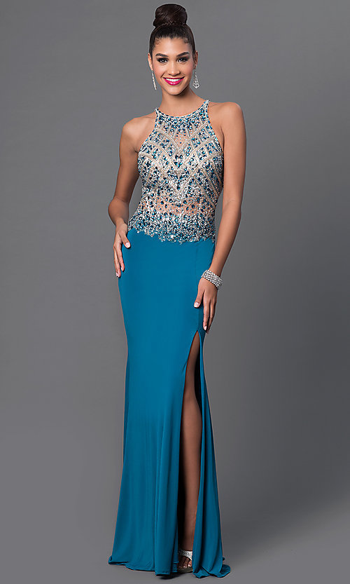 Image of sleeveless jeweled-bodice long prom dress with slit. Style: JT-605 Front Image