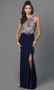 Mock Two-Piece Jeweled Floor-Length Dress