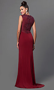 Image of bead-top sleeveless floor-length dress. Style: JT-627 Back Image