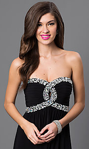 Image of City Triangles black strapless empire-waist dress. Style: CT-8415DE5B Detail Image 1