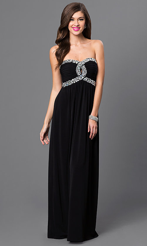 Image of City Triangles black strapless empire-waist dress. Style: CT-8415DE5B Front Image