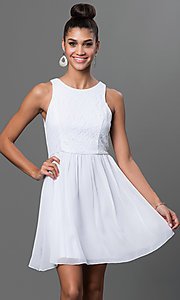 Image of short sleeveless fit-and-flare dress with lace bodice Style: EM-BXB-1456-120 Front Image