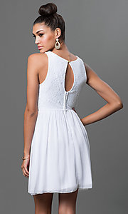 Image of short sleeveless fit-and-flare dress with lace bodice Style: EM-BXB-1456-120 Back Image