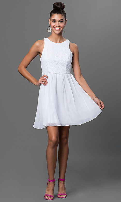 Image of short sleeveless fit-and-flare dress with lace bodice Style: EM-BXB-1456-120 Detail Image 1