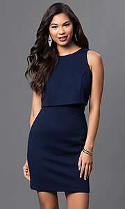Image of short navy-blue popover dress by Emerald Sundae Style: EM-DPD-2043-430 Front Image