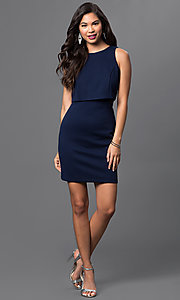 Image of short navy-blue popover dress by Emerald Sundae Style: EM-DPD-2043-430 Detail Image 1