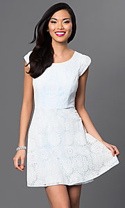 Short Lace Cap-Sleeve Emerald Sundae Dress