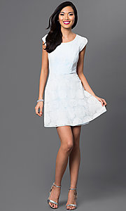 Image of short lace dress cap-sleeve Emerald Sundae dress Style: EM-DHC-2505-109 Detail Image 1