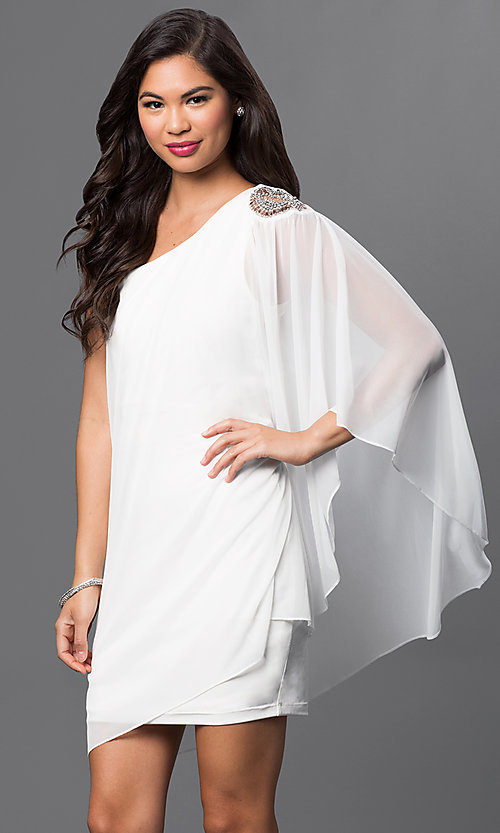 Image of short ivory one shoulder dress with sheer overlay and beaded shoulder accent   Style: EM-EBN-1049-120 Front Image