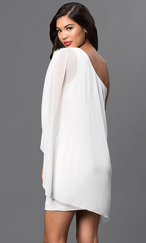 Image of short ivory one shoulder dress with sheer overlay and beaded shoulder accent   Style: EM-EBN-1049-120 Back Image