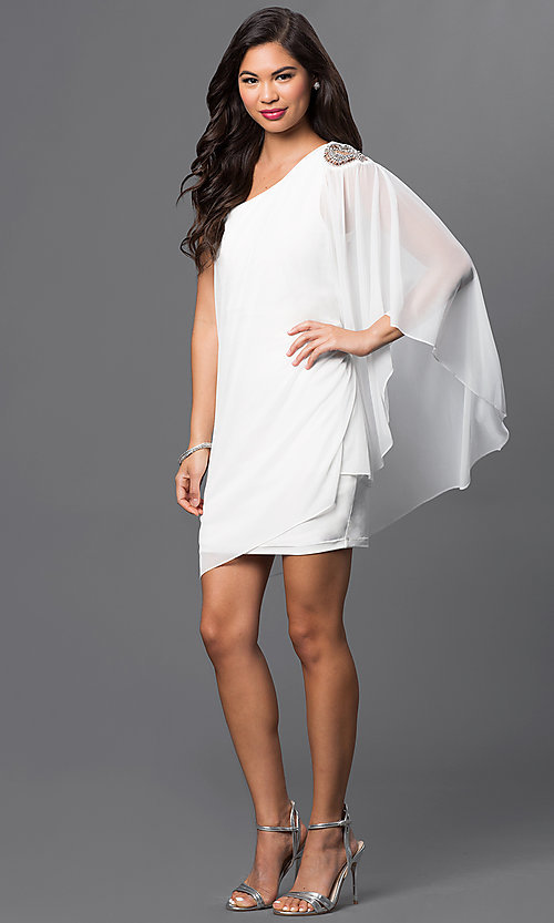 Image of short ivory one shoulder dress with sheer overlay and beaded shoulder accent   Style: EM-EBN-1049-120 Detail Image 1