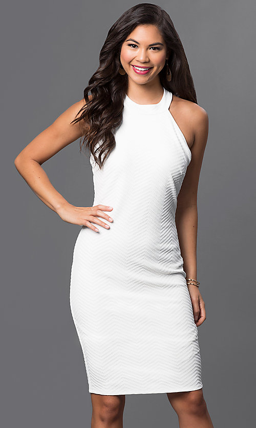 Image of white knee-length textured dress by Emerald Sundae. Style: EM-ELB-2036-120 Front Image