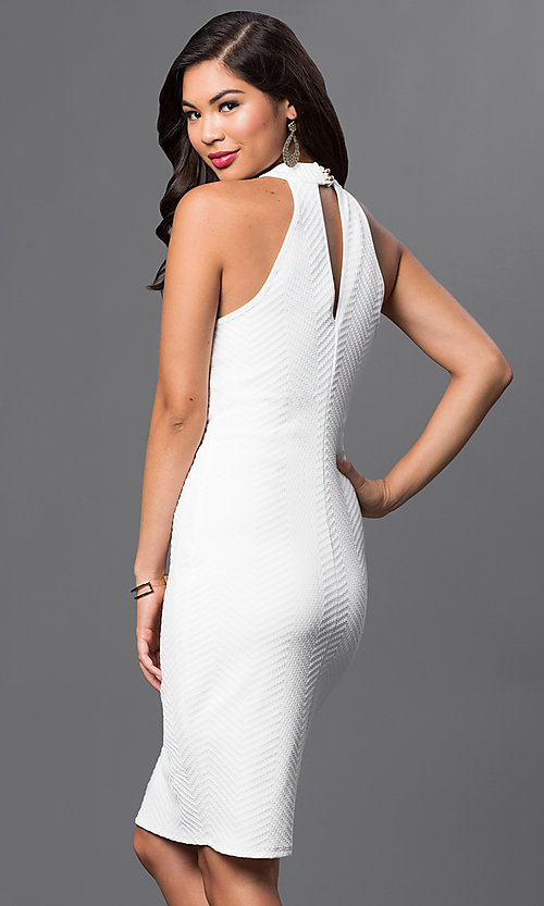 Image of white knee-length textured dress by Emerald Sundae. Style: EM-ELB-2036-120 Back Image