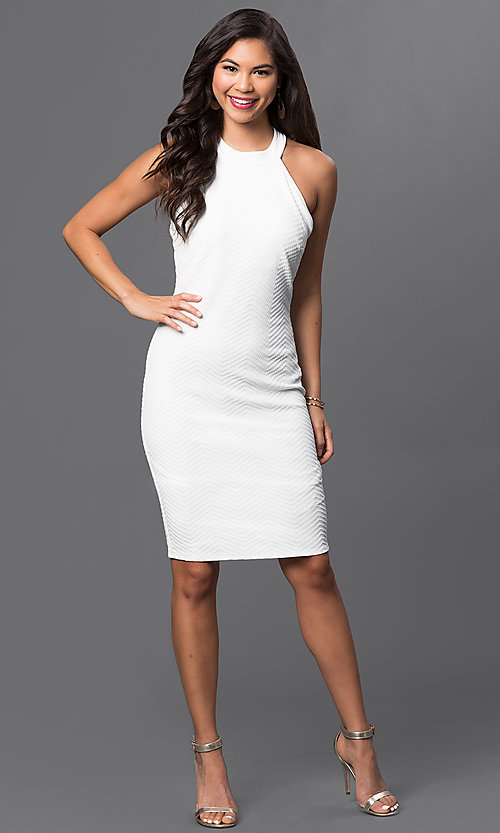 Image of white knee-length textured dress by Emerald Sundae. Style: EM-ELB-2036-120 Detail Image 1