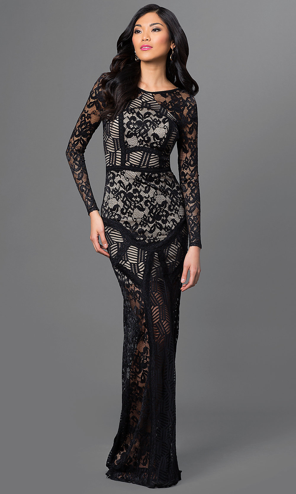 Lace Floor Length Long Sleeve Dress By Emerald Sundae