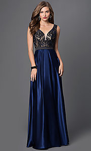 Floor Length Sleeveless Satin Skirt and Illusion Bodice Dress