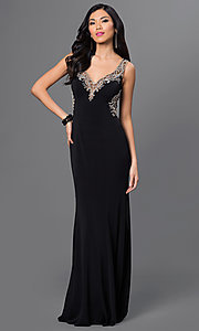 Illusion Back Floor Length Dress with Rhinestone Detailing
