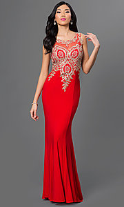 Image of long prom dress with embroidered bodice. Style: PO-7364 Detail Image 2
