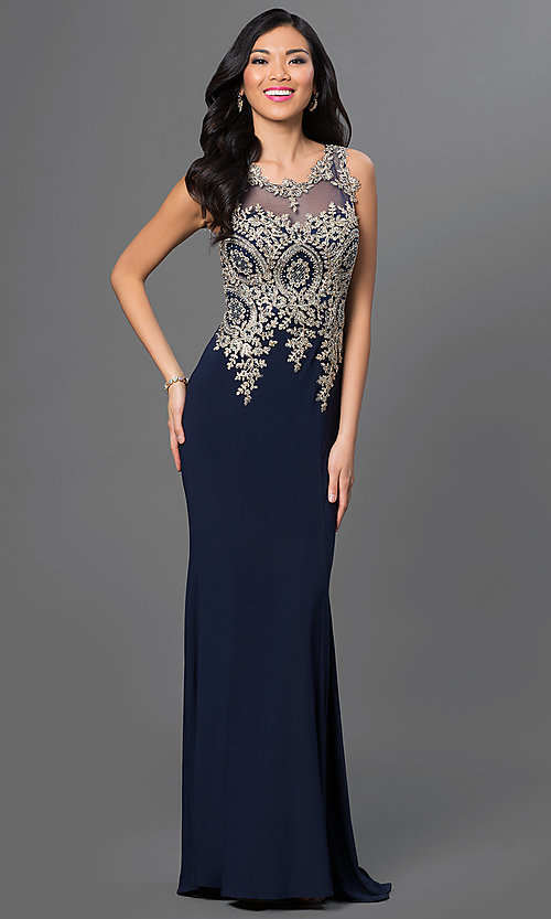 Image of long prom dress with embroidered bodice. Style: PO-7364 Detail Image 1