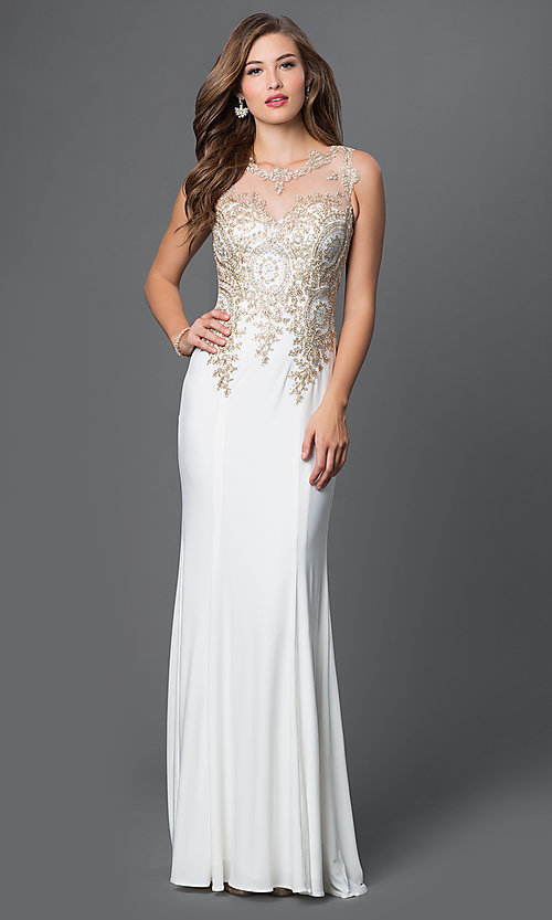Image of long prom dress with embroidered bodice. Style: PO-7364 Front Image