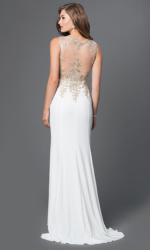Image of long prom dress with embroidered bodice. Style: PO-7364 Back Image