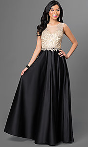 Image of long prom dress with embroidered-illusion bodice. Style: PO-7494 Front Image
