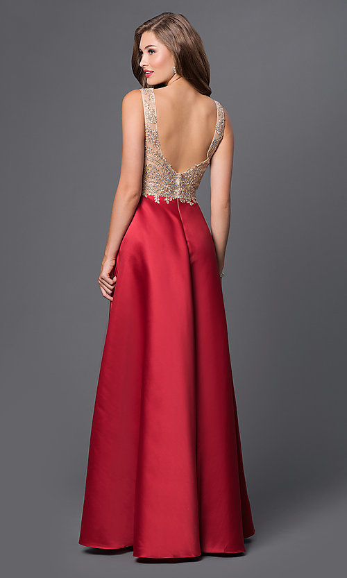 Image of long prom dress with embroidered-illusion bodice. Style: PO-7494 Back Image