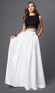 Image of long black-and-white two-piece embroidered-top dress Style: PO-7450-BW Front Image