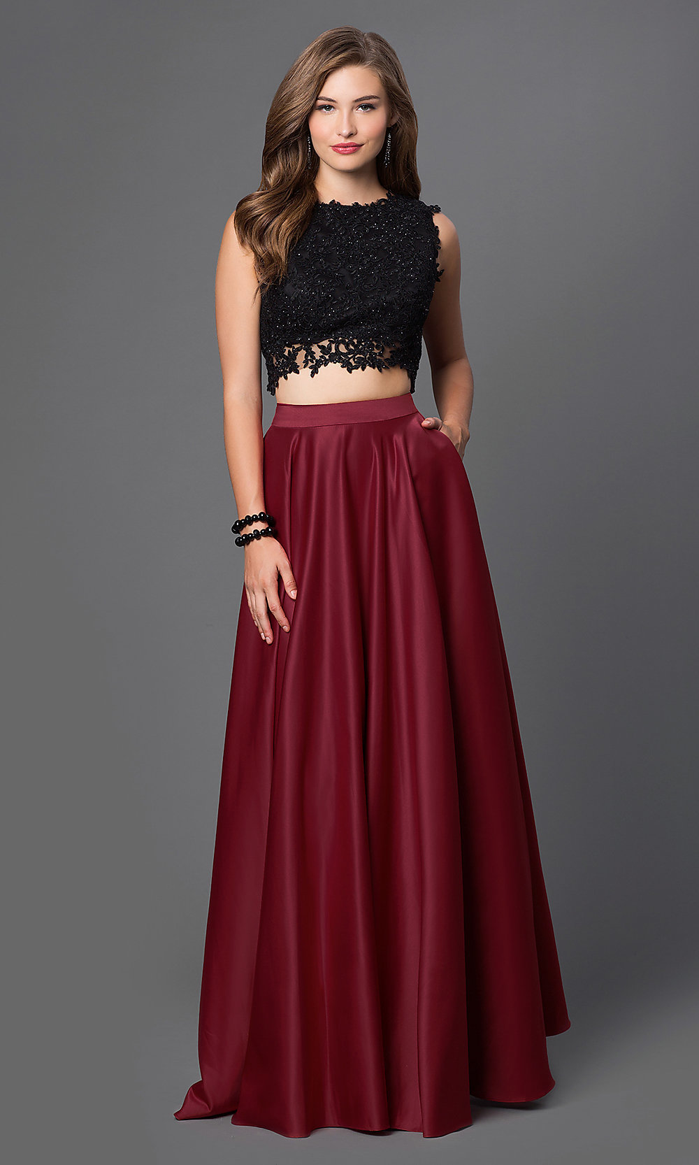 54bec75a022 Two-Piece Prom Dress with Lace Top - PromGirl