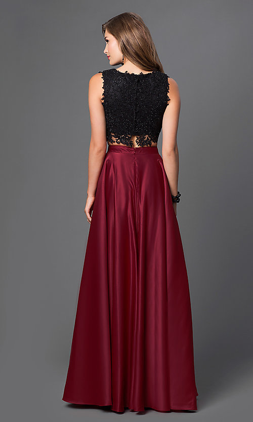 Image of long embroidered-lace top two-piece dress Style: PO-7450 Back Image